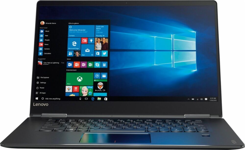 "LAPTOP LENOVO YOGA 710-15IKB 2 EN 1 CORE I5-7200U 2.5GHZ 256GB SSD 8GB RAM 15.6"" (1920x1080) TOUCHSCREEN W10H NVIDIA 940MX 2048MB COLOR NEGRO SEMINUEVA"