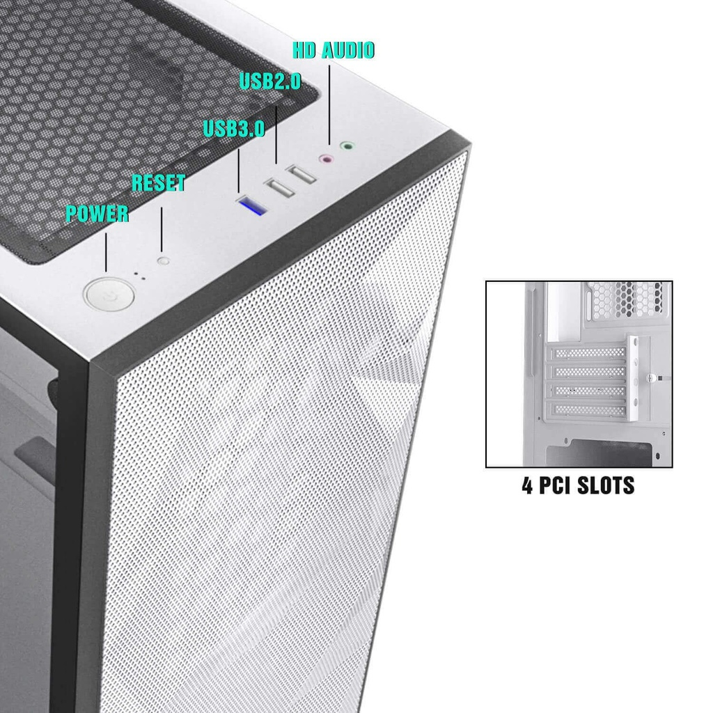 CASE DARKFLASH DLM21 MESH M-ATX MEDIA TORRE COLOR BLANCO