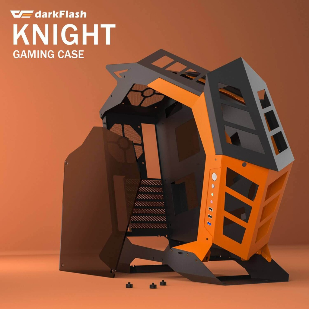 CASE DARKFLASH KNIGHT ATX / MTX / ITX COLOR NEGRO CON ANARANJADO